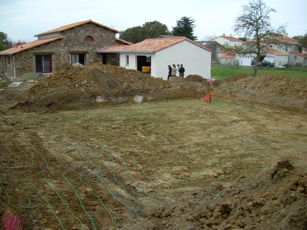 Photo d'un captage horizontal lors d'une chantier en Loire-Atlantique (44)